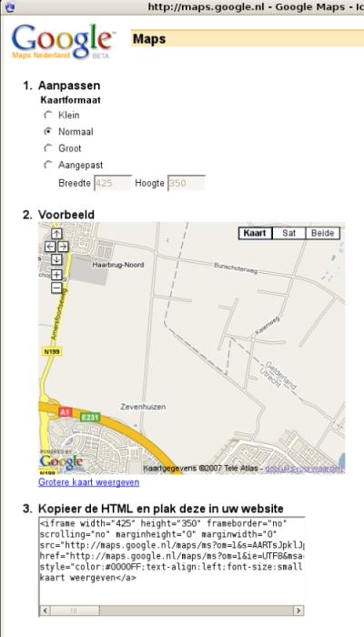 Google Maps Mijn kaarten embed aanpassen